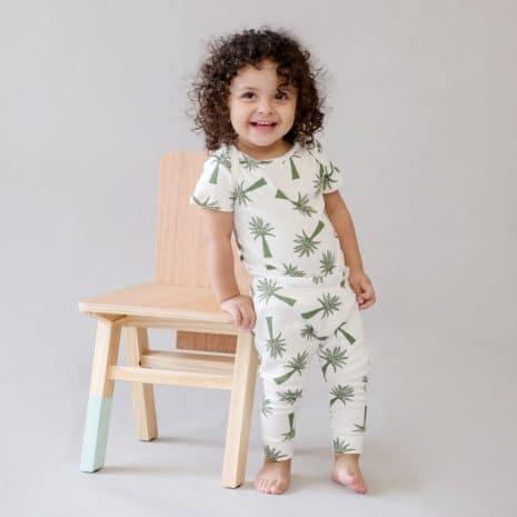 body classico manga curta palmeiras de algodão pima orgânico
