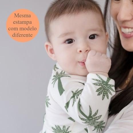 """Body kimono manga longa de algodão pima orgânico estampa palmeiras com a tag """"mesma estampa com modelo diferente"""""""