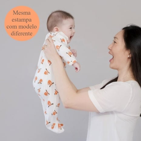 """pijama de algodão pima orgânico estampa preguiça com a tag """"mesma estampa com modelo diferente"""""""