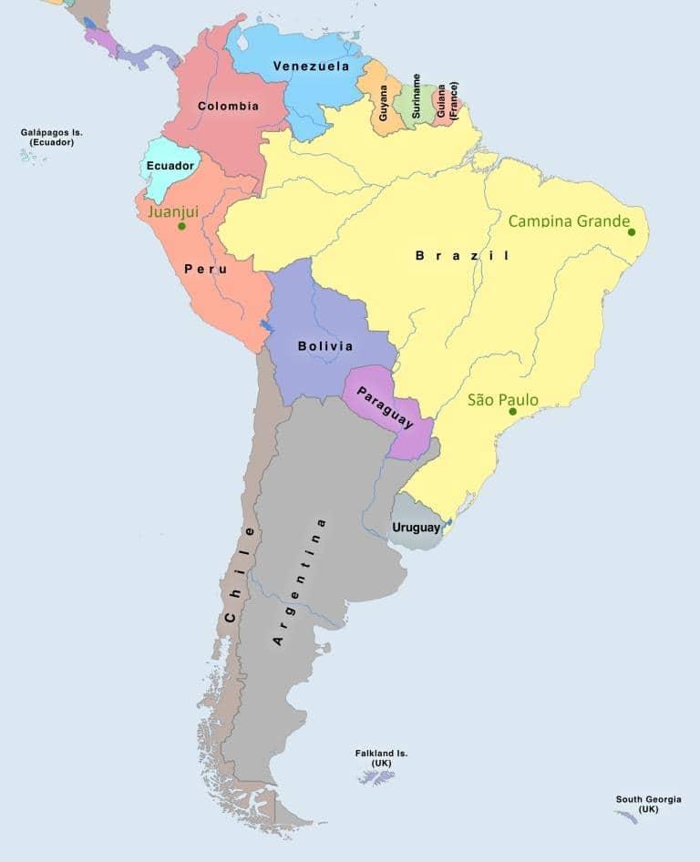 Mapa projeto Timirim 2016 Peru Brasil