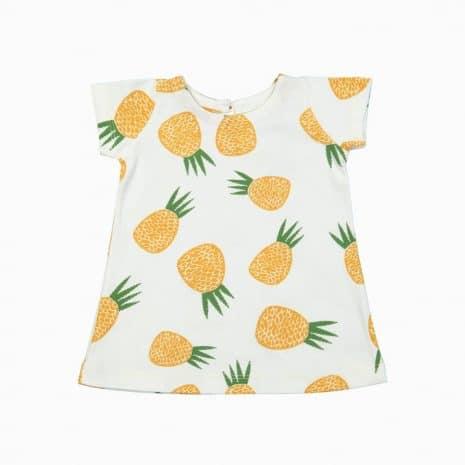 Vestido estampa abacaxi em algodão pima orgânico