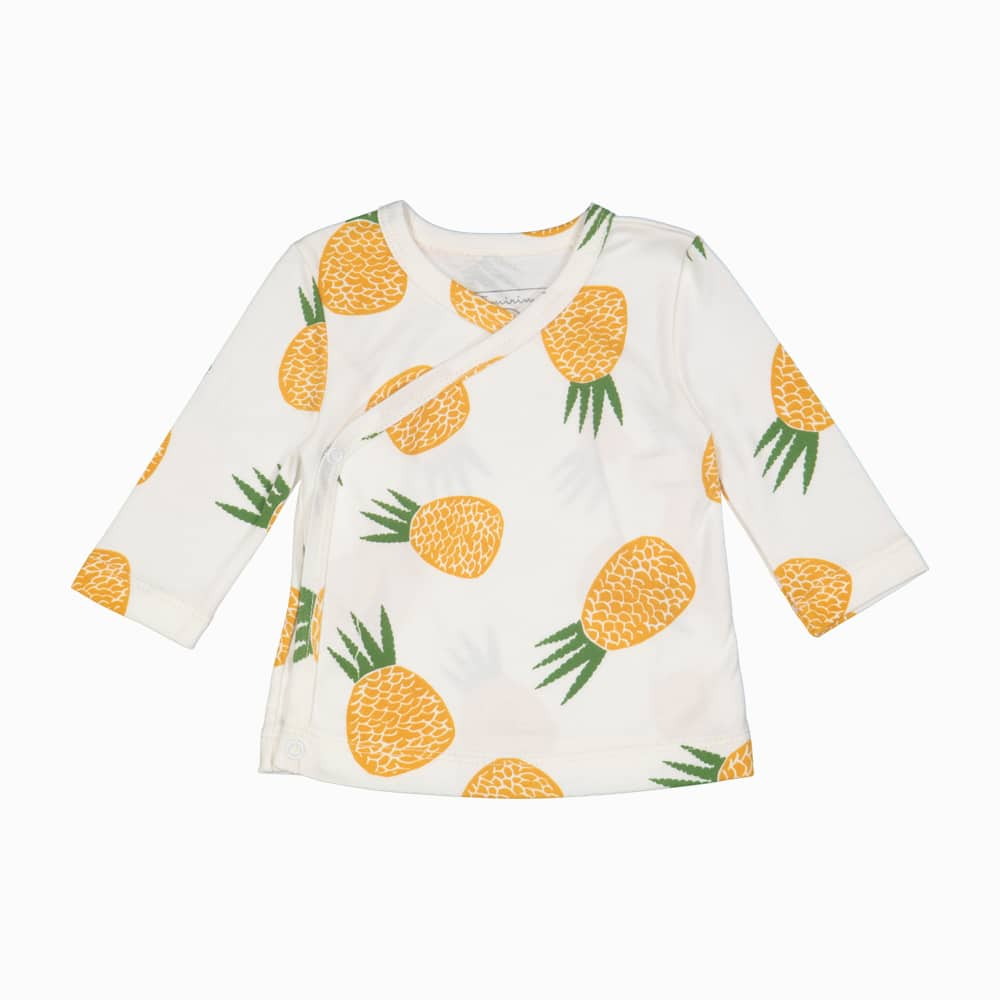 Cardigan Kimono em algodão pima orgânico estampa abacaxi