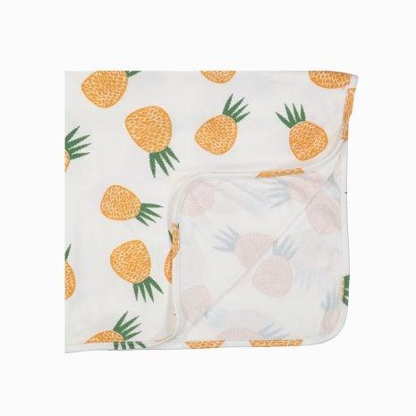 Manta Swaddle em algodão pima orgânico estampa abacaxis