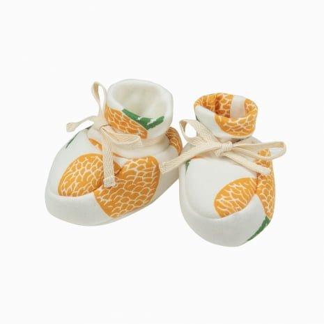 Sapatinhos de bebê de algodão pima orgânico estampa abacaxis