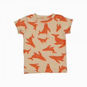 Camiseta de algodão pima orgânico estampa baleias vermelhas