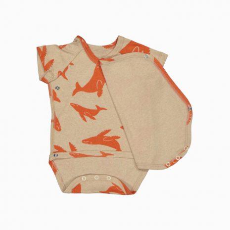 Body Kimono Manga Curta em algodão pima orgânico estampa baleias vermelhas