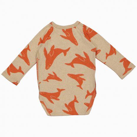 Body Kimono Manga Longa em algodão pima orgânico estampa baleia vermelha