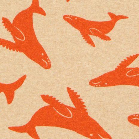 estampa baleias vermelhas por J. Borges