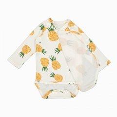 Body Kimono Manga longa Abacaxi em algodão pima orgânico