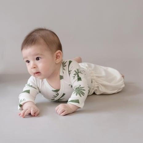 Body Kimono Manga Longa Palmeiras em algodão pima orgânico