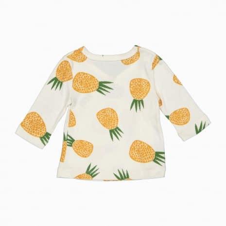 Cardigan Kimono em algodão pima orgânico estampa abacaxi costas