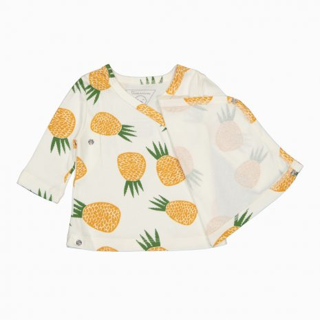 Cardigan Kimono em algodão pima orgânico estampa abacaxi aberto