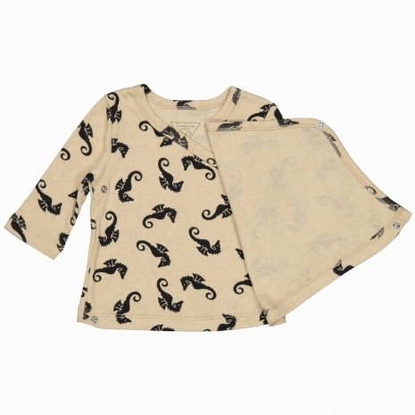 cardigan kimono cavalos marinhos em algodão pima orgânico aberto