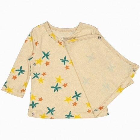 Cardigan kimono de algodão pima orgânico estampa estrela do mar aberto
