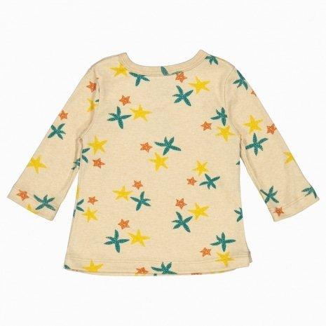 Cardigan kimono de algodão pima orgânico estampa estrela do mar costas