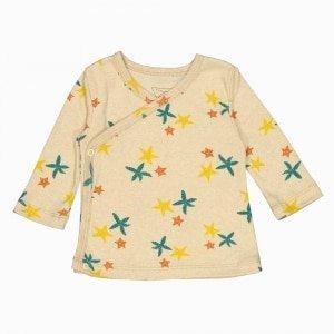 Cardigan kimono de algodão pima orgânico estampa estrela do mar