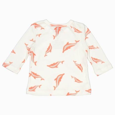 Cardigan kimono de algodão pima orgânico estampa golfinhos costas