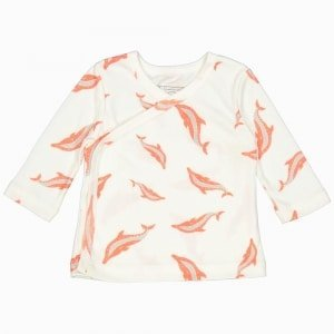Cardigan kimono de algodão pima orgânico estampa golfinhos
