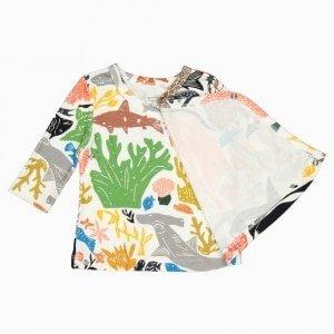 Cardigan kimono de algodão pima orgânico estampa oceano aberto