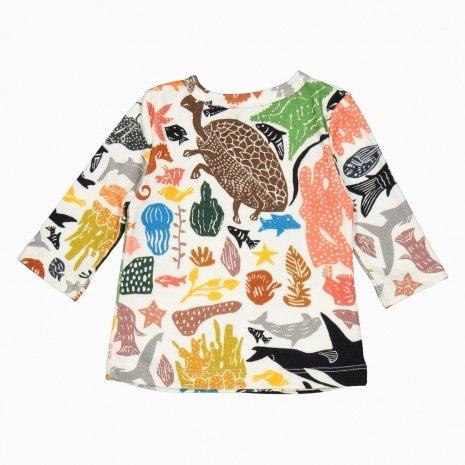Cardigan kimono de algodão pima orgânico estampa oceano costas