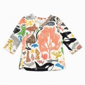 Cardigan kimono de algodão pima orgânico estampa oceano