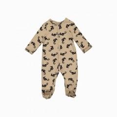 Macacão pijama em algodão pima orgânico estampa cavalo marinho