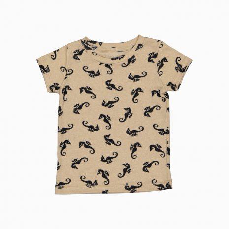 Camiseta manga curta em algodão pima orgânico estampa cavalos marinhos