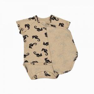 Body Kimono Manga Curta em algodão pima orgânico estampa cavalo marinho