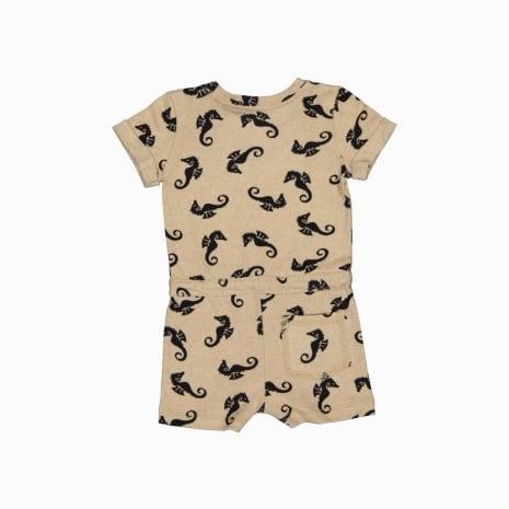 Macaquinho shorts em algodão pima orgânico estampa cavalos marinhos