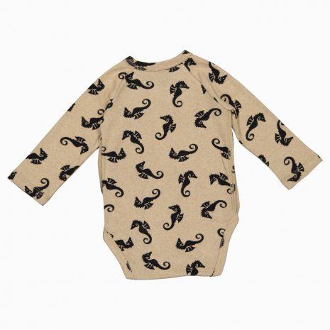 Body Kimono Manga Longa em algodão pima orgânico estampa cavalos marinhos