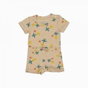 Macaquinho shorts em algodão pima orgânico estampa estrela do mar