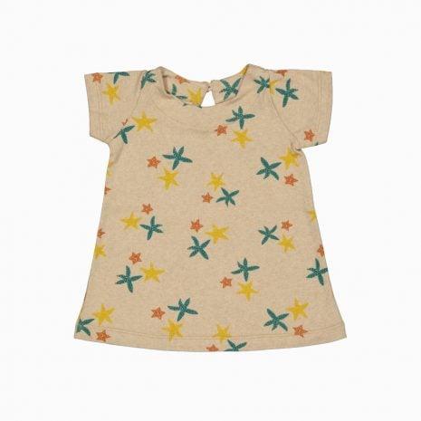 Vestido de algodão pima orgânico estampa estrela do mar