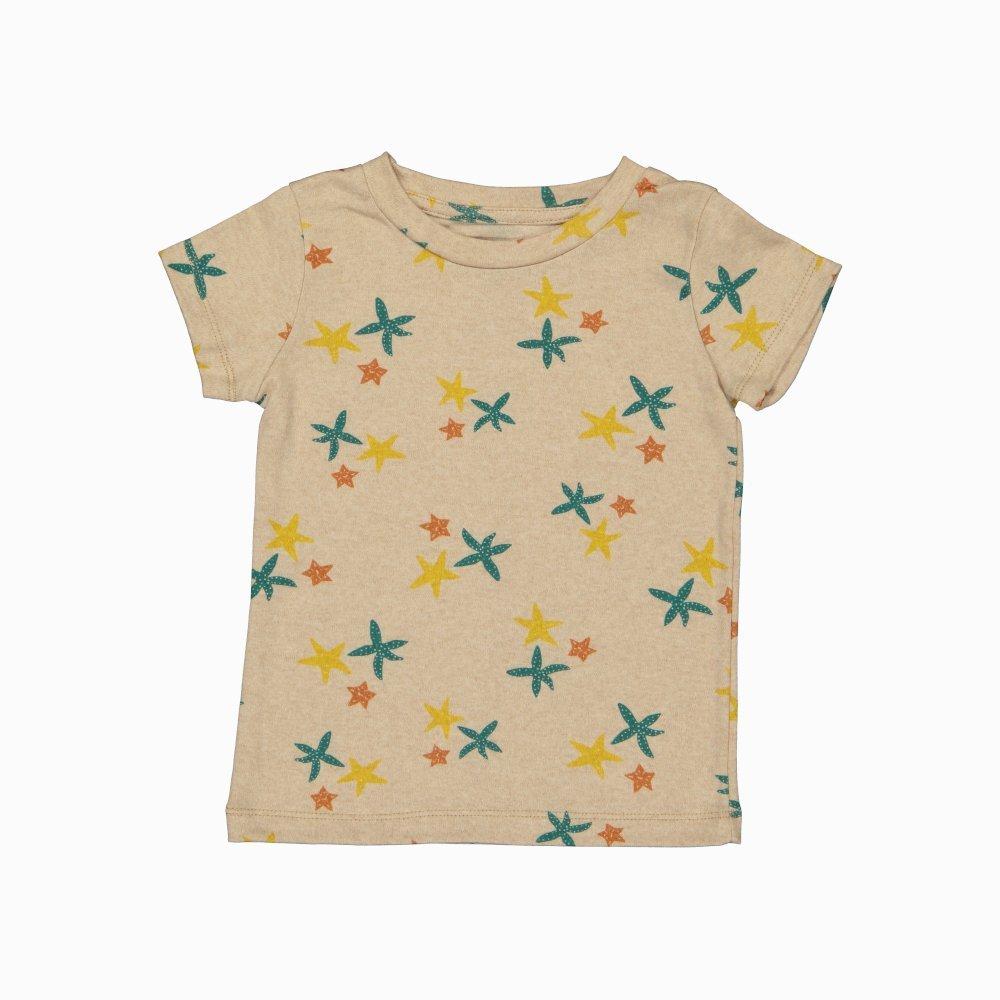 Camiseta manga curta em algodão pima orgânico estampa estrelas do mar