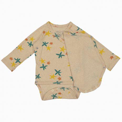Body Kimono Manga Longa em algodão pima orgânico estampa estrela do mar