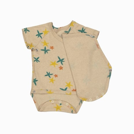 Body Kimono Manga Curta em algodão pima orgânico estampa estrela do mar