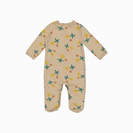 Macacão pijama em algodão pima orgânico estampa estrela do mar