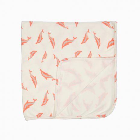 Manta Swaddle em algodão pima orgânico estampa golfinhos