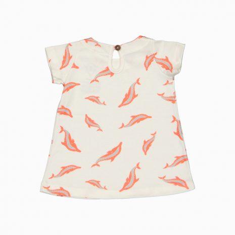 Vestido de algodão pima orgânico estampa golfinhos