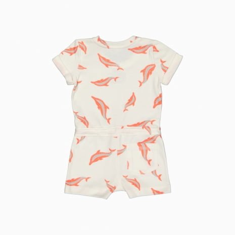 Macaquinho shorts em algodão pima orgânico estampa golfinhos