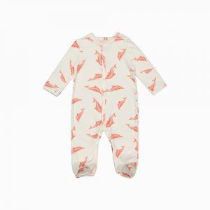 Macacão pijama em algodão pima orgânico estampa golfinhos