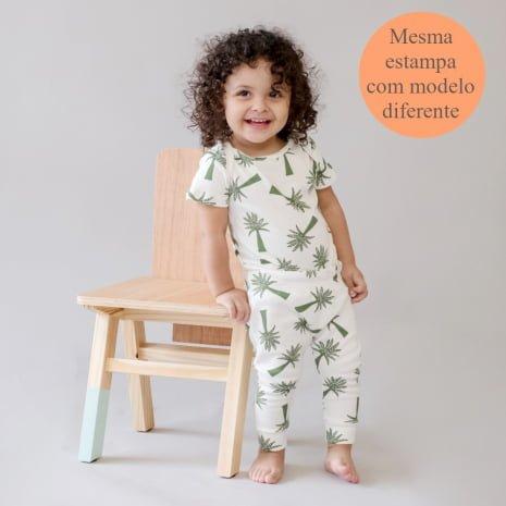 """body e calça em algodão pima orgânico estampa palmeiras com tag """"mesma estampa com modelos diferentes"""""""