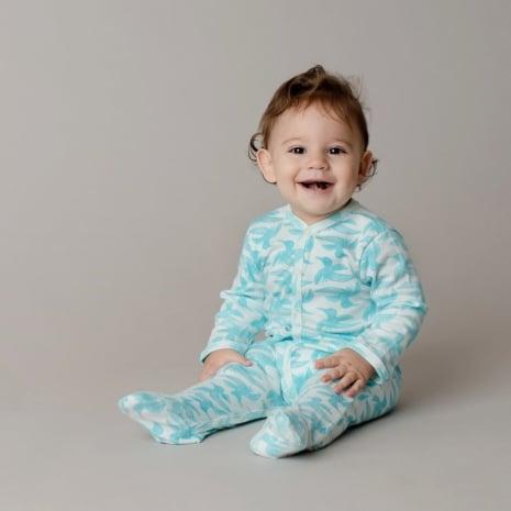 Macacão pijama em algodão pima orgânico estampa passaros