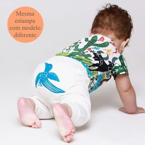 """calça em algodão pima orgânico estampa serigrafia passaro com tag """"mesma estampa com modelos diferentes"""""""