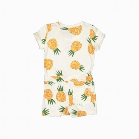 Macaquinho shorts em algodão pima orgânico estampa abacaxis