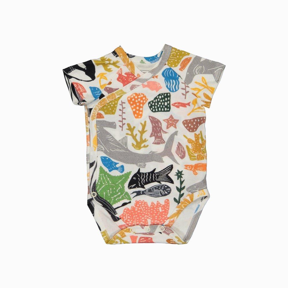 Body Kimono Manga Curta em algodão pima orgânico estampa oceano