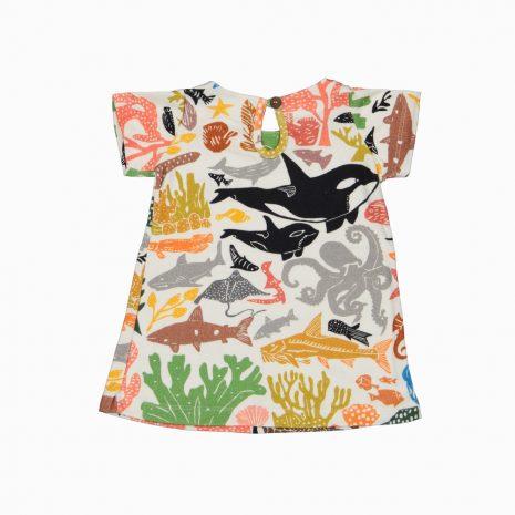 Vestido de algodão pima orgânico estampa oceano