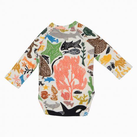 Body Kimono Manga Longa em algodão pima orgânico estampa oceano