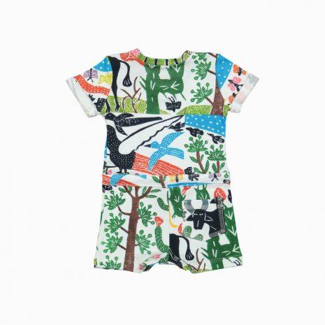Macaquinho shorts em algodão pima orgânico estampa paisagem do sertão