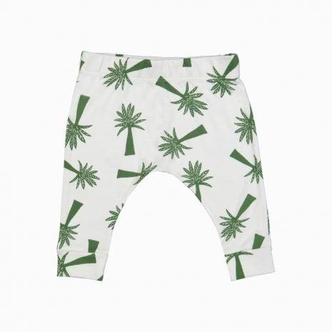 Calça saruel estampa palmeiras em algodão pima orgânico