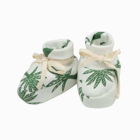 Sapatinhos de bebê de algodão pima orgânico estampa palmeiras
